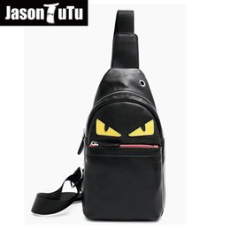 little gold bag Coupons - New brand design PU leather Men Chest packs Cartoon Little monster casual travel Bag vintage shoulder bags bolsa masculina B475