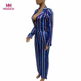 8dfdcf4644a 2018 NEW ARRIVAL FASHION SPRING Women Sexy Bodycon Long Sleeve Striation  Blouse Bandage Wide-legged Jumpsuit monos para mujeres