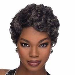 Kurze, lockige graue perücke online-8inches Damenmode Perücke kurze lockige Perücke für Frauen verworrene lockige keine Spitze Perücke synthetische schwarze Haare (Farbe: schwarz Mix grau)