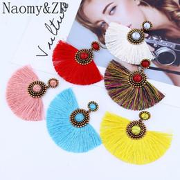 Orecchini nappa frangia NaomyZP per le donne Orecchini pendenti grandi Boemia Boho appesi accessori moda da