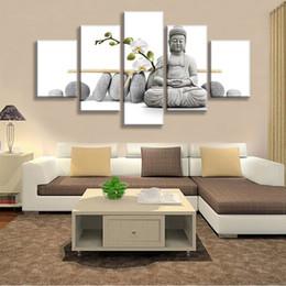große leinwand buddha bilder Rabatt Buddha Chid Blume Malerei Druck Auf Leinwand Wandkunstausgangsdekor Für Wohnzimmer Bilder 5 Panel Große HD Gedruckt malerei rahmen