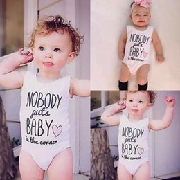 Wholesale Cheap Cotton Baby Clothes - Toddler infant baby rompers whitecolor letters print cotton newborn outfits children clothing set fast free shipping cheap price B11