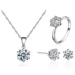 Роскошные 8 мм цирконий комплект ювелирных изделий посеребренные CZ алмазный кулон ожерелье серьги кольца наборы для женщин мода ювелирные изделия подарок cheap zirconia necklace sets от Поставщики ожерелья из циркония