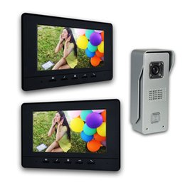 Wholesale camera intercom - 7 Inch LCD Monitor Wired video Doorbell intercom System Video Door Phone Aluminium alloy Camera Video Intercom doorphone Kit 2-Monitor