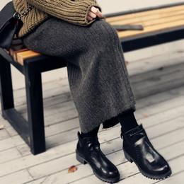 Siyah Etek Kadın 2018 Yeni Sonbahar ve Kış Örme Etek Rahat Örme Orta-uzun Etekler Bayan Bölünmüş Kazak Saia EV207 cheap black long skirt winters nereden siyah uzun etekli kışlar tedarikçiler