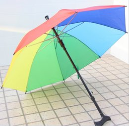 Wholesale Walking Stick Crutches - Colorful Automatic Crutch Umbrella Practical Rainbow Walking Stick Umbrellas With Long Handle Durable For Outdoors Umbrella