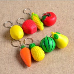 Wholesale Cell Phone Purse Strap - PU Squeeze Fruit Key Chain Vegetable Phone Charms Keychain Cell Phone Straps Handbag Purse Pendant Keyring CCA9578 500pcs