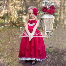 Wholesale Halter Wedding Dress Feathers - Sweety 2018 Red Flower Girl Dresses With Lace Crew Sleeveless Handmade Flower Girls Pageant Gowns For Wedding Kids Birthday Party Dresses
