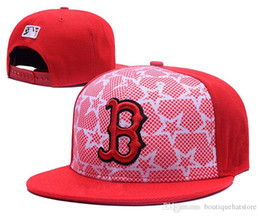 Wholesale Red Sox Hat Adjustable - New Men's Red Sox Snapback Hats With White Red Star Red Color Embroidered B Letter Team Logo Brand Hip Hop Sports Baseball Adjustable C