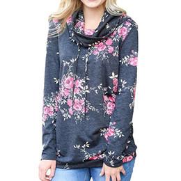 Wholesale Pink Womens Hoodie L - Print Pink Floral High Turtleneck sweatshirts womens 2018 Autumn Winter Casual Pullovers Long Sleeve Women Hoodies Sweatshirt