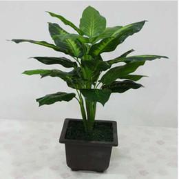grandi vasi da giardino Sconti Grande pianta artificiale sempreverde di 50CM 25 foglie piante in vaso di Bush realistiche Albero verde di plastica Decorazione domestica dell'ufficio del giardino