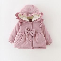 Wholesale girls ruffle winter coats - Warm Winter Baby Girls Infants Kids Snow Wear Ruffles Hooded Bow Princess Velvet Thicken Jacket Coat Parkas Outwear