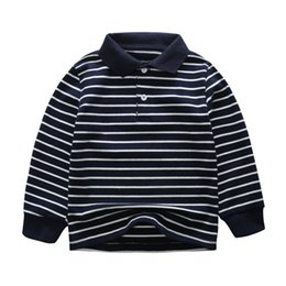 t-shirt dressing stil junge Rabatt 2018 Herbst Kinder Jungen Polos Shirts Langarm Baumwolle Gestreiften Baby Tees Kinder Kleidung für 3-7 T