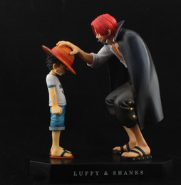 Wholesale Hair Model Dolls - classical One Piece action figures Anime Straw Hat Luffy Shanks red hair ornaments gift doll toys 17.5cm child luffy models pvc collection