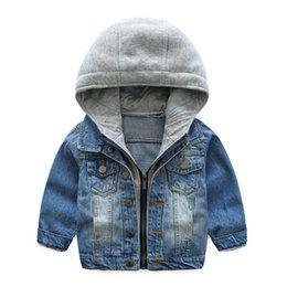 Wholesale 12 Month Boy Jeans - Baby Boys Coat 2018 New Spring Autumn Wash Soft Denim Coat Hooded Zipper Coat Jeans Jacket for Kids Children Clothing 6T