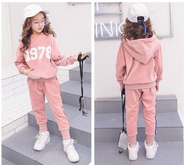 wholesale velvet suit set Promo Codes - Children clothes 2018 Spring Velvet Two-piece Set Girls Sport Suits Long Sleeve Striped School Girl Outfit Kids Teens Clothes pink black