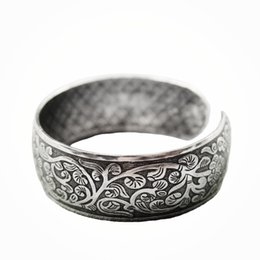 Wholesale Tibetan Bags - whole saletrendy cuff bracelet tibetan silver color flower bohemia vintage Bangle Valentine's Day Gift for her Cuff packing by velvet bag