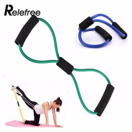 Wholesale muscle resistance exercises - relefree hot Resistance Training Exercise Muscle Band Tube Fitness Stretch Equipment Fit Yoga