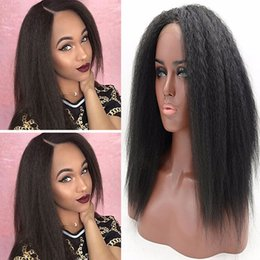 Wholesale Half Lace Wig Cheap - Cheap Sexy Fashion Women Cosplay Wigs Black Yaki Straight Glueless Synthetic Lace Front Wig half hand Heat Resistant for Black Women