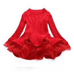 Otoño Grueso Cálido Vestidos de Niña Princesa de Punto Fiesta de Invierno Suéter Infantil TuTu Vestido de Ropa de la Muchacha Ropa de los niños desde fabricantes