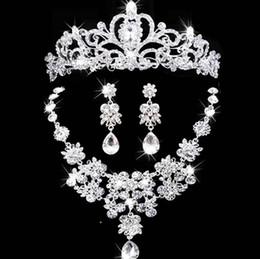 joyería de las mujeres conjunto nupcial adornos para el cabello joyas de cristal austriaco collar y aretes conjunto Novia Accesorios nupciales desde fabricantes