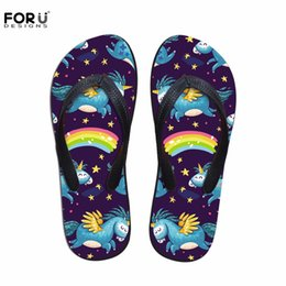 Wholesale Women Beach Shoes Design - FORUDESIGNS Fashion Unicorn Design Summer Slippers Woman Casual Women Slip-on House Flip Flops Flats Beach Water Shoes Ladies