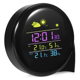 Wholesale digital wireless monitor - Weather Station Alarm Clock Wireless Thermometer Clock Indoor Outdoor Temperature Humidity Monitor Clock With Remote Sensor DDA705