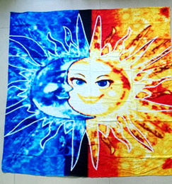 Wholesale wholesale bath decor - Square Abstract Sun Moon Painting Beach Bath Mat Multifunction Lovers Towel Picnic Blanket Sand Shawl Wall Decor Tapestry 150*150cm AAA34