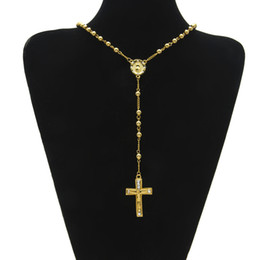 Wholesale Hiphop Beads - Gold Color Religion Rosary Necklace Round Beads Crucifix Jesus Cross Virgin Mary Pendant Men Necklace Hiphop Religious Chain