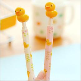 Forniture per ufficio d'anatra online-2 pz / lotto Carino Kawaii Yellow Duck design penna a sfera / roller penne / 0.5 MM Blu / cancelleria Materiale Scolastico Ufficio GT207