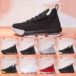 Tênis de basquete 16 on-line-Wholesale New 16 16s mens basketball shoes All Black White Wine Red Yellow Gold Wolf Grey Hot Mens Athletic Sports Sneakers Shoes 7-12