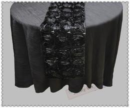 mesa de comedor paño estilo chino Rebajas Corredores de color negro Envío gratuito Venta caliente Rose Bordado Mesa Runner Rosette Corredor de tabla de satén para la boda Eventos