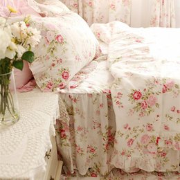 Wholesale Quilt Bedspread Bedding Sets - Pastoral rose print bedding set ruffle duvet cover princess quilt cover wrinkle bedspread bed sheet skirt bedroom bedding gift