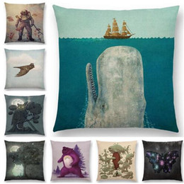 Wholesale Ghost Covers - Throw Pillow Case Moon Night Tree Lovely Elf Cute Ghost Sailboat whale Sea Ocean Deer Bear Pillow Cover Sofa Pillowcase 18x18Inch