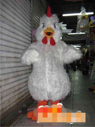 Wholesale Chicken Costume White - Custom Newly designed White chicken mascot costume Adult Size free shipping
