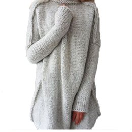 Wholesale Thick Crochet Sweater Women - Top 2018 Winter New High Quality Women Fashion Warm Sweater With Gloves Plus Size Knitted Sweater Thickened Casual Warm Loose Knits