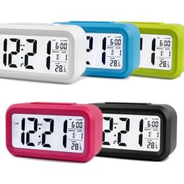 Canada Réveil Numérique LED Horloge Écran Faible Luminosité Capteur Technologie Température Affichage Électronique Bureau Horloges Numériques Nouveau DHL Gratuit Offre