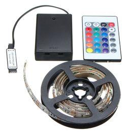 Argentina 30/50/100/150 / 200cm Lámpara flexible RGB LED Strip Light 5050 SMD Control remoto a pilas cheap 12v battery for led strip Suministro