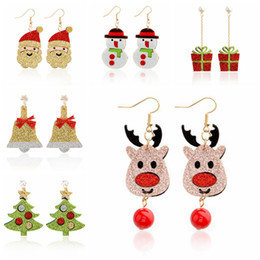 Natale moda gioielli creativi nuovi cartoni animati 3D Santa campana di Natale Alci pupazzo di neve orecchini a bottone Orecchini di cristallo di Natale serie regalo di Capodanno da