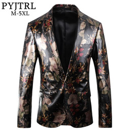 blazers patterns Coupons - PYJTRL New High Quality England Style Gentleman Floral Patter PU Leather Blazer Design Men Vintage Pattern Slim Fit Suit Jacket