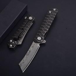 Damasco nuevos rodamientos de bolas mango de acero cuchillo plegable herramienta de camping de bolsillo caza engranaje al aire libre cuchillo cuchillos desde fabricantes