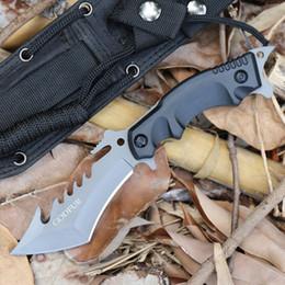 Équipement de survie en Ligne-Couteau de chasse de survie multi-fonctions War Wolf Couteau droit Outil de transport pour l'autodéfense Plongée extérieure Équipement de camping Plongée Couteaux EDC
