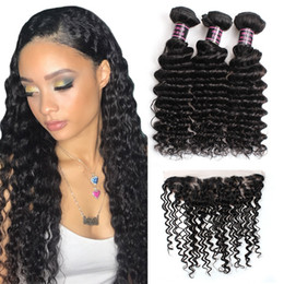malaysian products Coupons - 10A Brazilian Deep Wave 3Bundles with 13*4 Lace Frontal Peruvian Malaysian Indian Virgin Human hair Products Free Shipping Wholesale Price