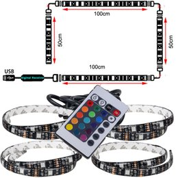 Wholesale Lcd Tv Lamp - 1pcs USB LED Strip String Lights tape Lamp 5050 SMD RGB USB Cable remote Controller for LCD Monitor TV Background light set