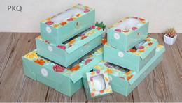 2019 limpar caixas de pvc para doces Caixa de Presente de Papel Kraft flor 10 pcs Bolinho Muffin Verde Macaron Cookies Caixa de Doces com Limpar janela do pvc Suprimentos de Festa de Casamento limpar caixas de pvc para doces barato