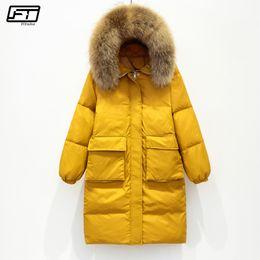 087805bbaff Fitaylor Winter Jacket Women Large Real Raccoon Fur Collar White Duck Down  Long Parkas Пальто женские с капюшоном карманы Снег Outwear енот мех с  капюшоном ...