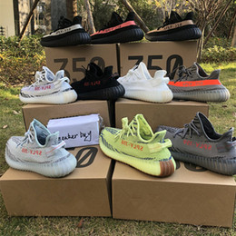Wholesale Freeze Blue - 350 V2 B37572 Semi Frozen Yellow B37572 Blue Tint Grey AH2203 Beluga 2.0 Grey Bold new color kanye west running shoes