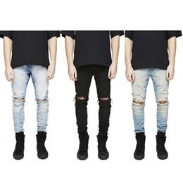 Wholesale Mens Black Jeans 36 - Slim Fit Ripped Jeans Men Hi-Street Mens Distressed Denim Joggers Knee Holes Washed Destroyed Jeans 32-36