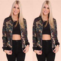 2019 giacche per le signore American Camouflage Bomber 2016 Moda Donna Bomber Giacca da baseball da donna Pilot Capispalla Harajuku Army Green Coat giacche per le signore economici