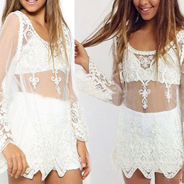 Wholesale Ladies See Through Blouses - Lady gauze net covered sexy lace top woman see through white black beach dress long sleeve embroidery lace shirt blouse